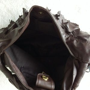 GAL Bags - Brown Faux Leather Hobo Bag with Feather Detail